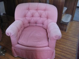 I have two of these chairs, which prove that things can be so ugly they are beautiful. They are faded and dirty now, but were a vibrant pink, the seat made out of exotic parakeet feathers or something. The two chairs are Some things are so ugly, they are beautiful. This might be said of these two pink chairs--twins, really. I bought them from another defunct vintage store that practically paid me to get them off the premises. Sometimes they sit in front of the woodstove, but these days they face the yellow couch since the pattern on all three pieces is sort of Art Deco and thus compatible. Someday I will part with them--hopefully both will go somewhere together and it will not be the transfer station.